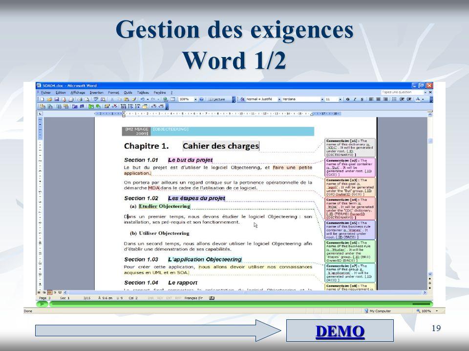 19 Gestion des exigences Word 1/2 DEMO