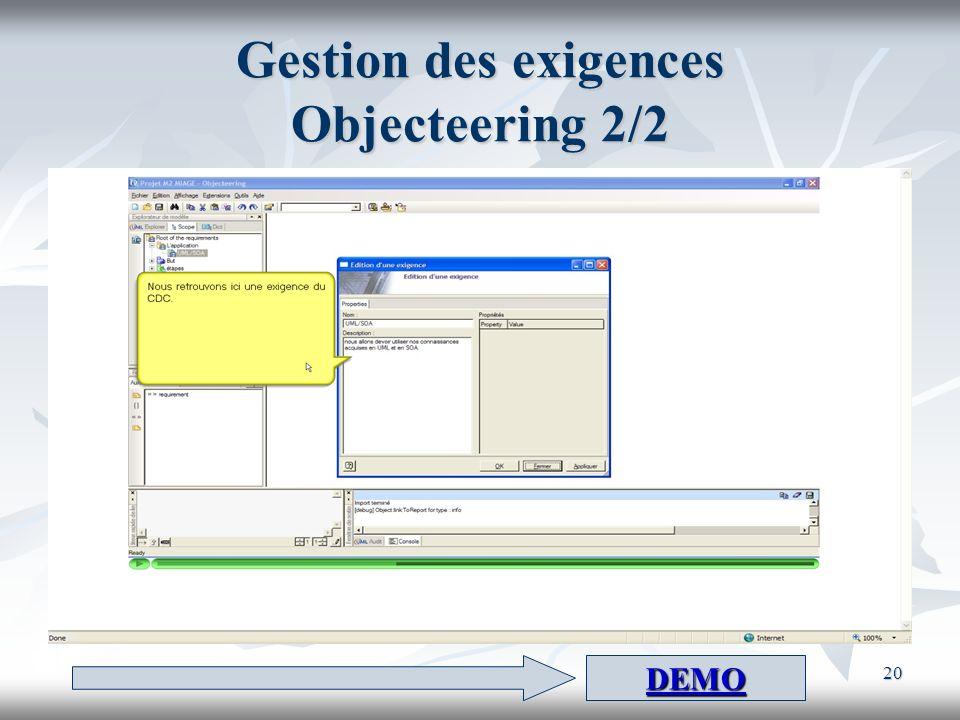 20 Gestion des exigences Objecteering 2/2 DEMO