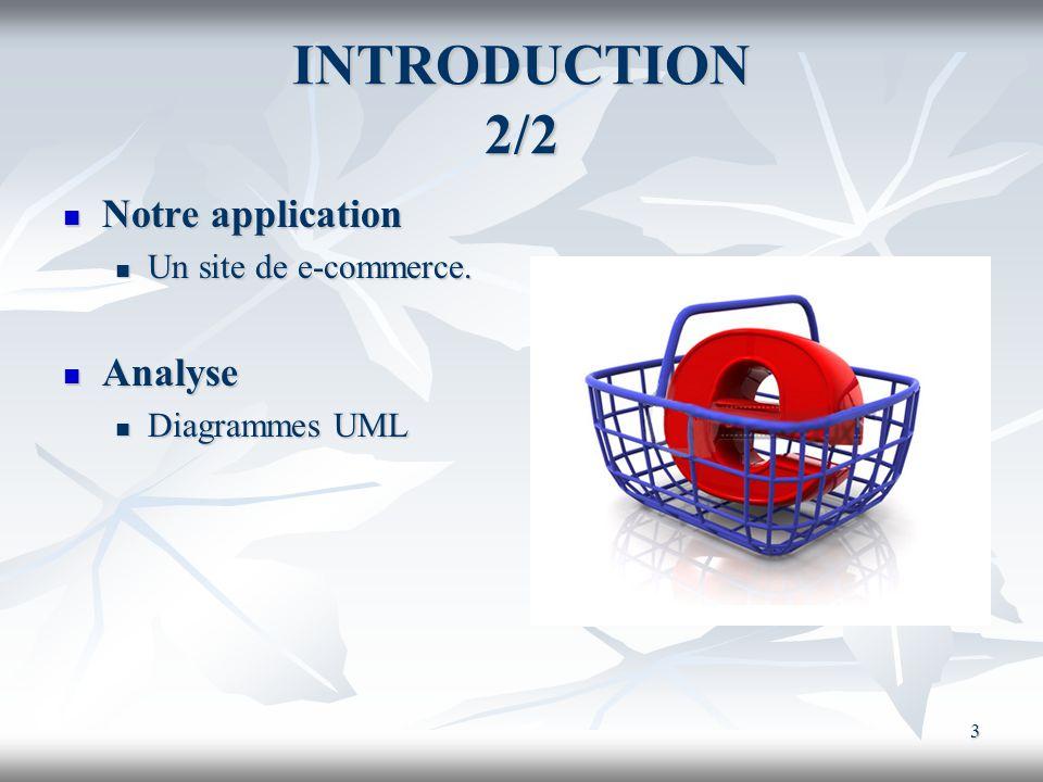 3 INTRODUCTION 2/2 Notre application Notre application Un site de e-commerce. Un site de e-commerce. Analyse Analyse Diagrammes UML Diagrammes UML