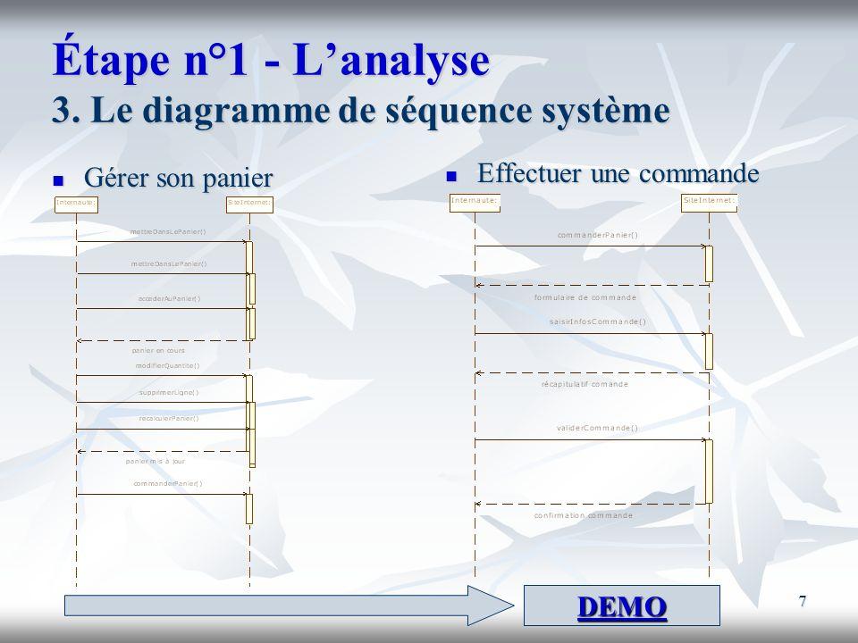 7 Étape n°1 - Lanalyse 3. Le diagramme de séquence système Gérer son panier Gérer son panier Effectuer une commande Effectuer une commande DEMO