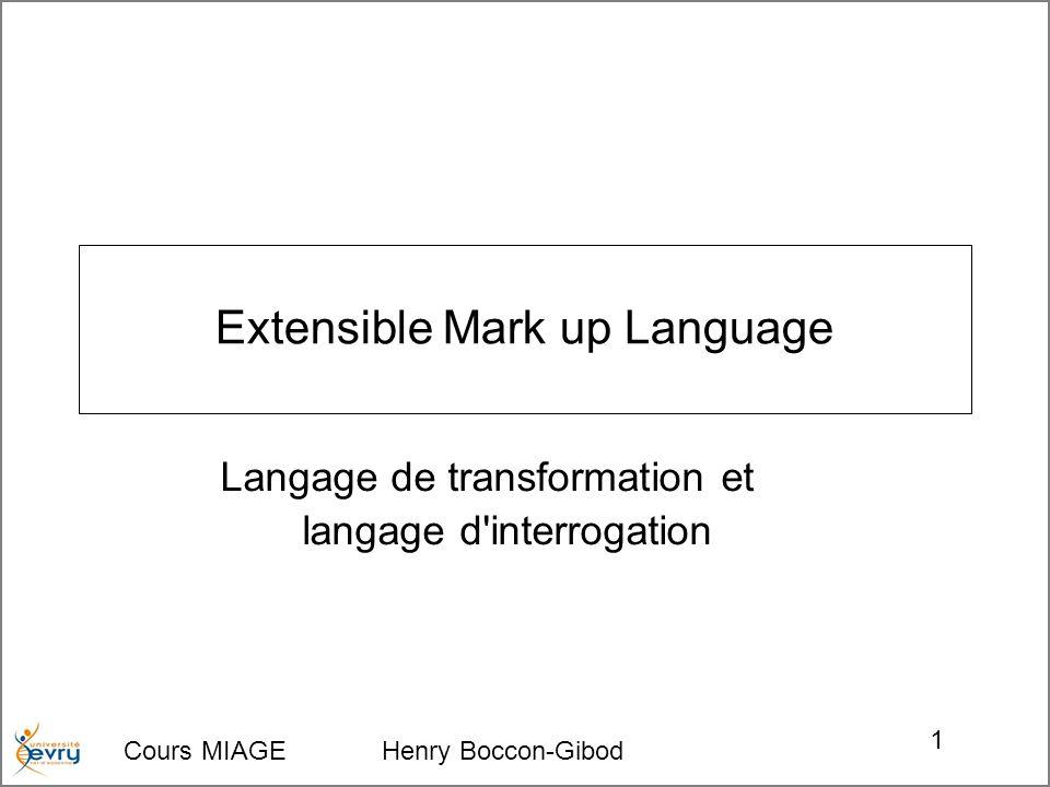 Cours MIAGE Henry Boccon-Gibod 1 Extensible Mark up Language Langage de transformation et langage d'interrogation