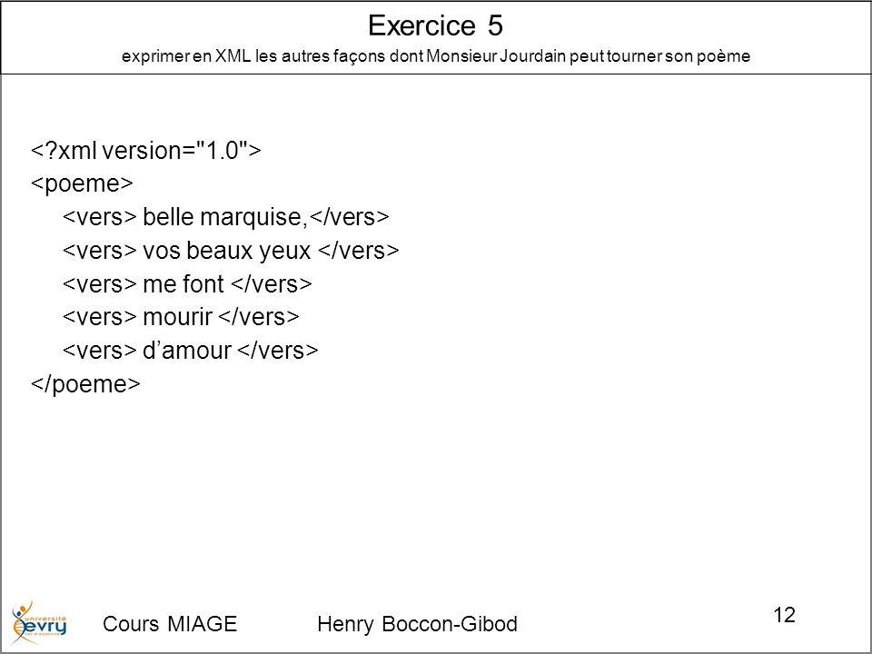 Cours MIAGE Henry Boccon-Gibod 12 belle marquise, vos beaux yeux me font mourir damour Exercice 5 exprimer en XML les autres façons dont Monsieur Jour