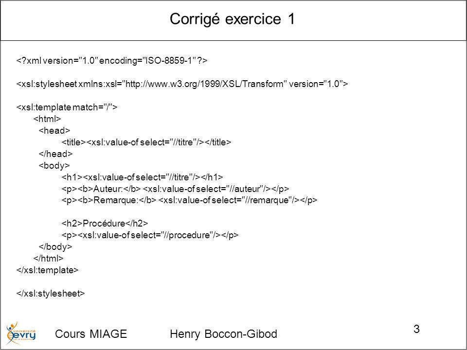 Cours MIAGE Henry Boccon-Gibod 3 Corrigé exercice 1 Auteur: Remarque: Procédure