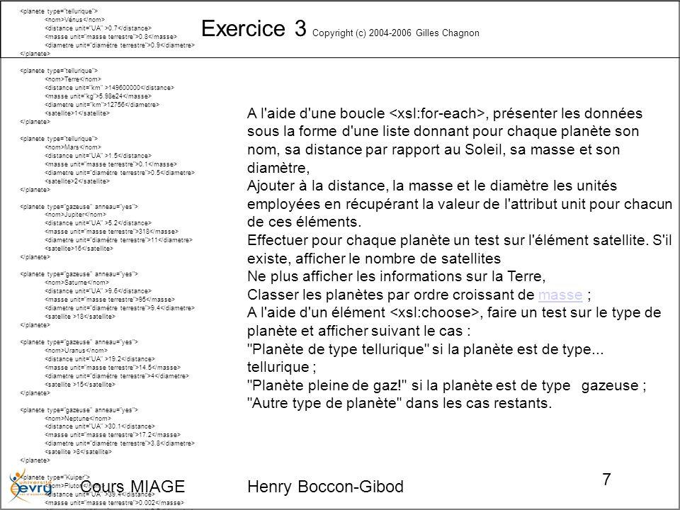 Cours MIAGE Henry Boccon-Gibod 7 Exercice 3 Copyright (c) 2004-2006 Gilles Chagnon Soleil G2 5 Mercure 0.4 0.06 0.4 Vénus 0.7 0.8 0.9 Terre 149600000