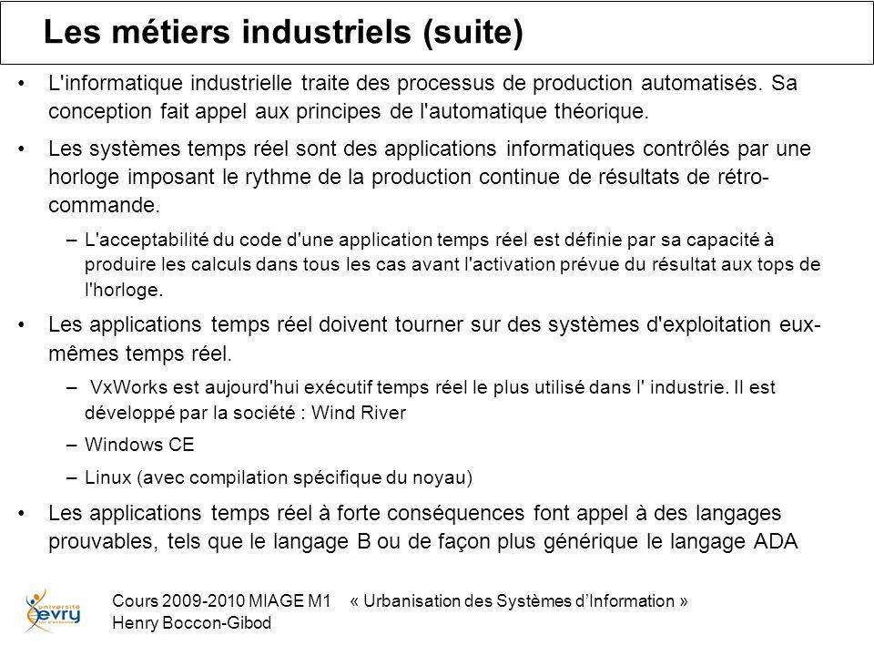 Cours 2009-2010 MIAGE M1 « Urbanisation des Systèmes dInformation » Henry Boccon-Gibod Les métiers industriels (suite) L informatique industrielle traite des processus de production automatisés.