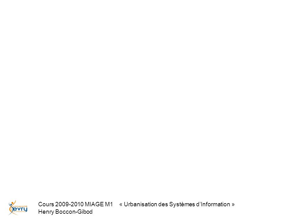 Cours 2009-2010 MIAGE M1 « Urbanisation des Systèmes dInformation » Henry Boccon-Gibod