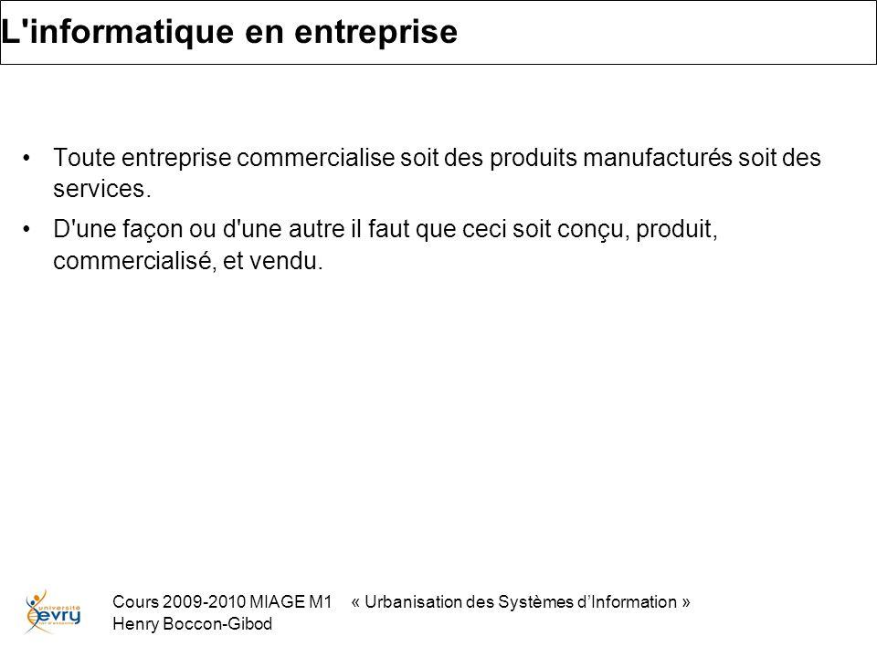 Cours 2009-2010 MIAGE M1 « Urbanisation des Systèmes dInformation » Henry Boccon-Gibod L informatique en entreprise Toute entreprise commercialise soit des produits manufacturés soit des services.