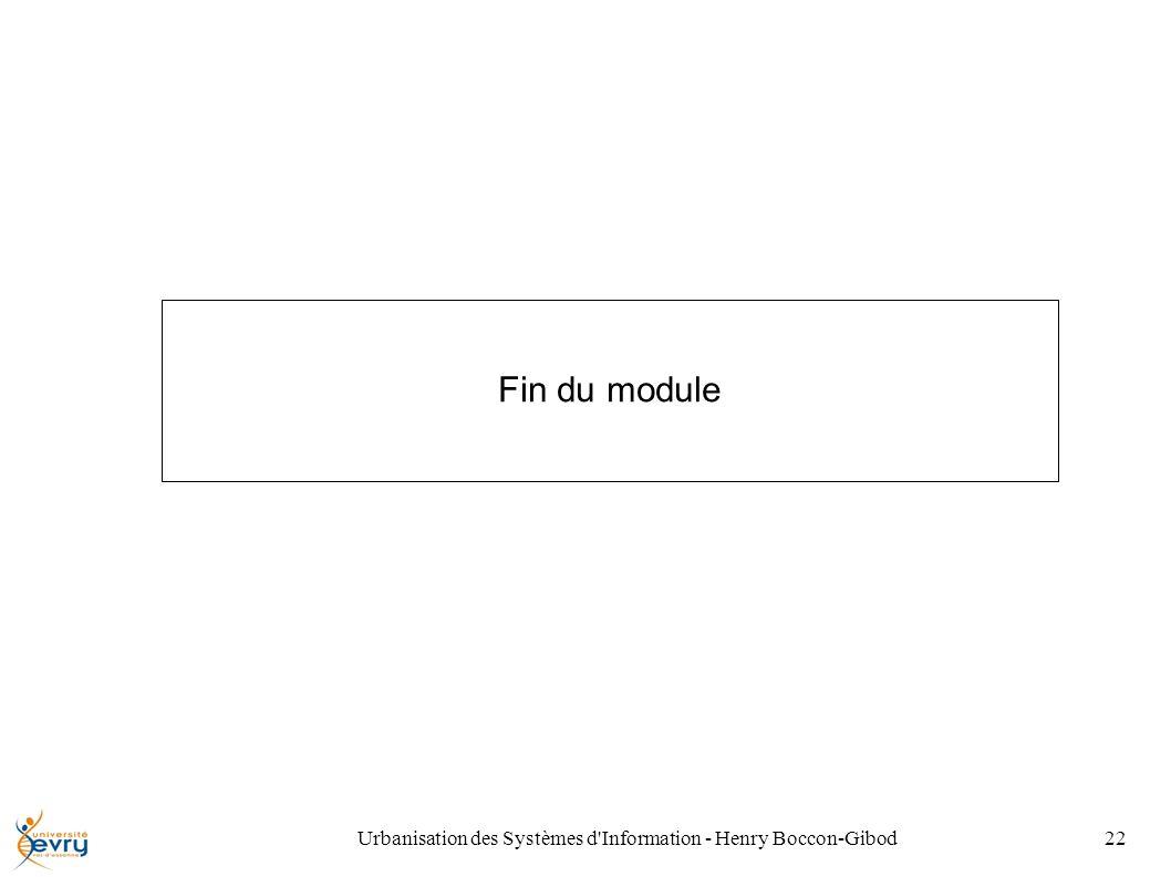 Urbanisation des Systèmes d Information - Henry Boccon-Gibod22 Fin du module