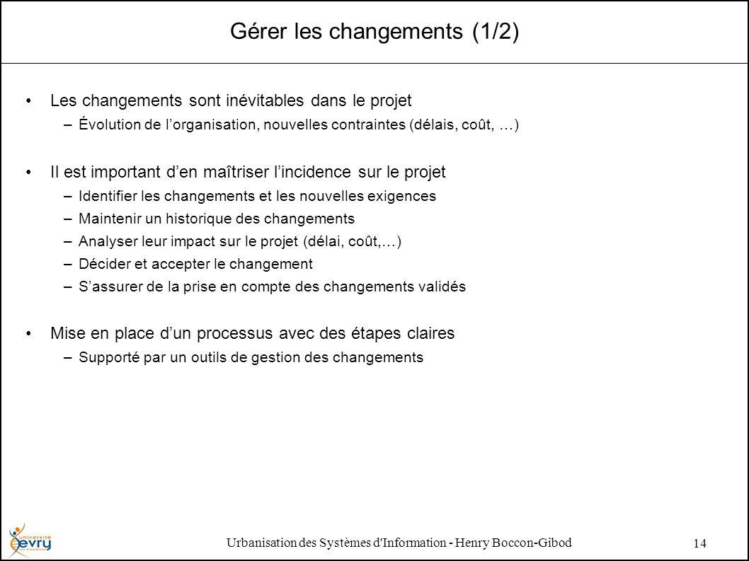 Urbanisation des Systèmes d Information - Henry Boccon-Gibod 14 Gérer les changements (1/2) Les changements sont inévitables dans le projet –Évolution de lorganisation, nouvelles contraintes (délais, coût, …) Il est important den maîtriser lincidence sur le projet –Identifier les changements et les nouvelles exigences –Maintenir un historique des changements –Analyser leur impact sur le projet (délai, coût,…) –Décider et accepter le changement –Sassurer de la prise en compte des changements validés Mise en place dun processus avec des étapes claires –Supporté par un outils de gestion des changements