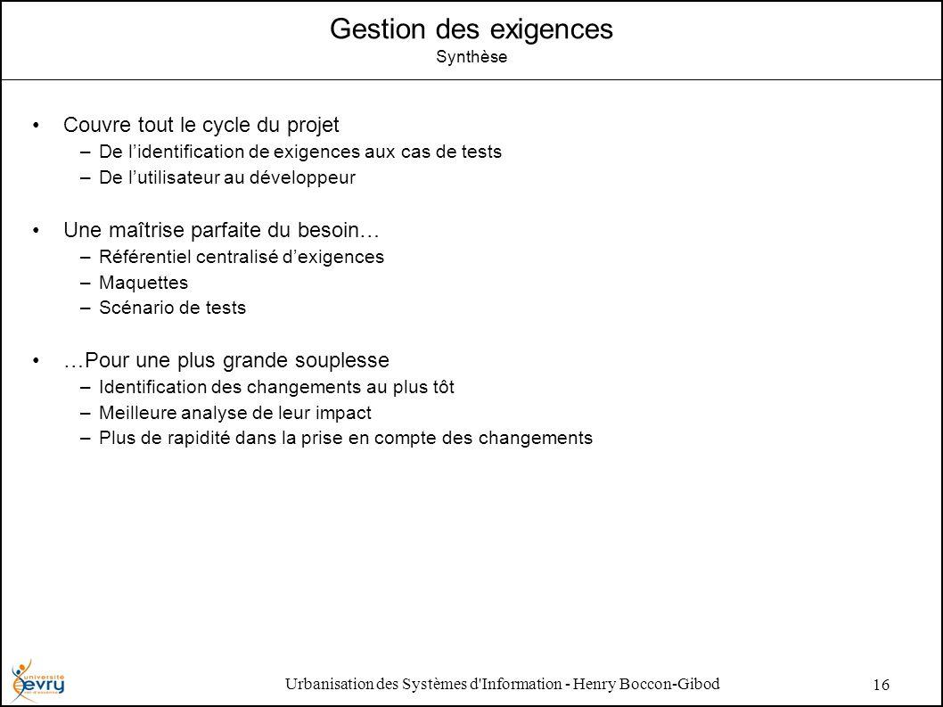 Urbanisation des Systèmes d'Information - Henry Boccon-Gibod 16 Gestion des exigences Synthèse Couvre tout le cycle du projet –De lidentification de e