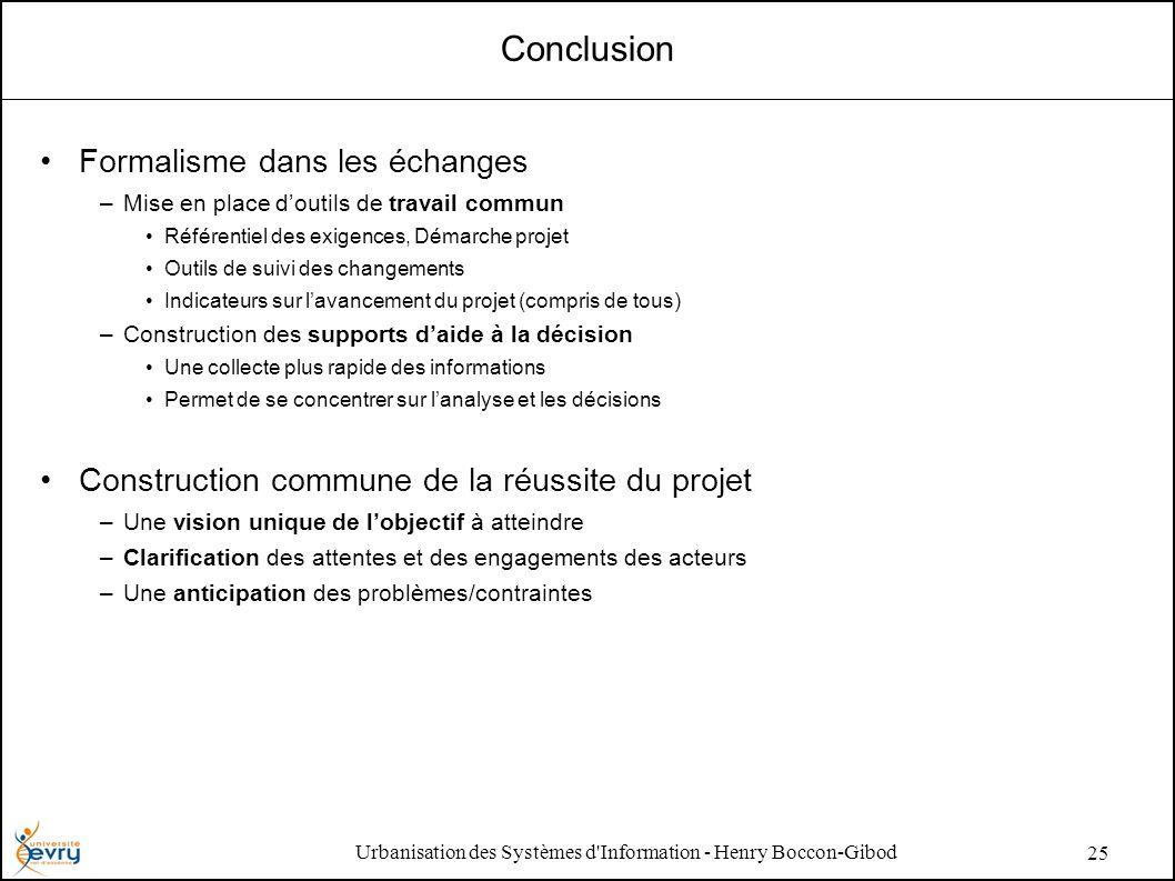 Urbanisation des Systèmes d'Information - Henry Boccon-Gibod 25 Conclusion Formalisme dans les échanges –Mise en place doutils de travail commun Référ