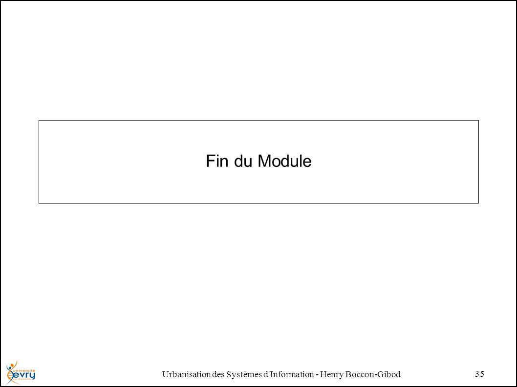 Urbanisation des Systèmes d Information - Henry Boccon-Gibod 35 Fin du Module