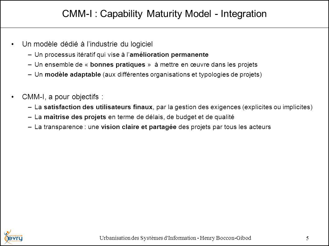 Urbanisation des Systèmes d Information - Henry Boccon-Gibod 5 CMM-I : Capability Maturity Model - Integration Un modèle dédié à lindustrie du logiciel –Un processus itératif qui vise à lamélioration permanente –Un ensemble de « bonnes pratiques » à mettre en œuvre dans les projets –Un modèle adaptable (aux différentes organisations et typologies de projets) CMM-I, a pour objectifs : –La satisfaction des utilisateurs finaux, par la gestion des exigences (explicites ou implicites) –La maîtrise des projets en terme de délais, de budget et de qualité –La transparence : une vision claire et partagée des projets par tous les acteurs