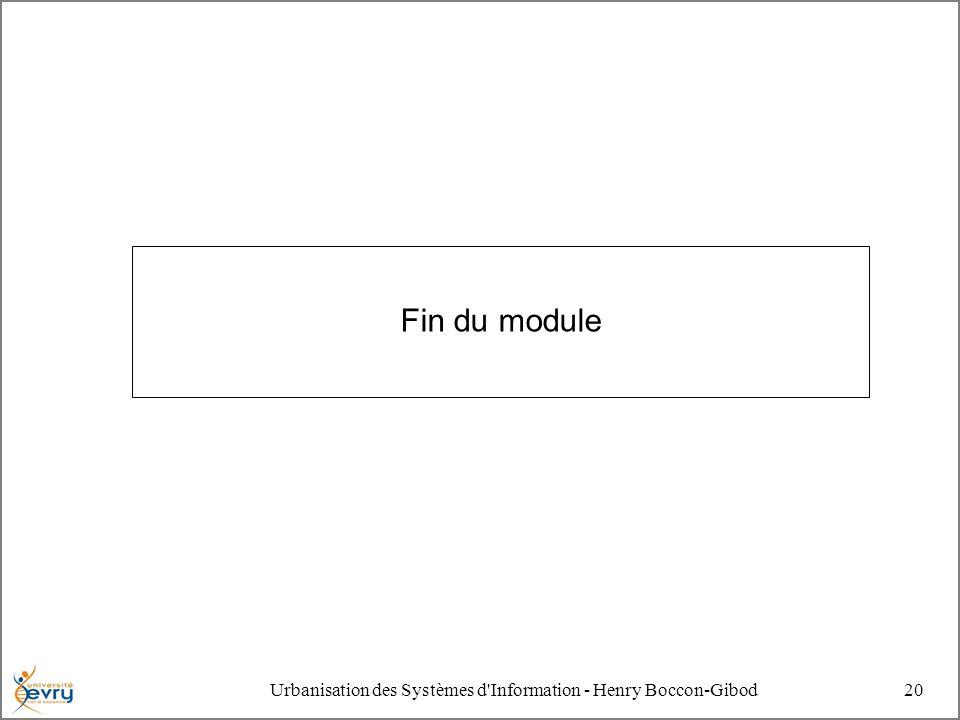Urbanisation des Systèmes d Information - Henry Boccon-Gibod20 Fin du module