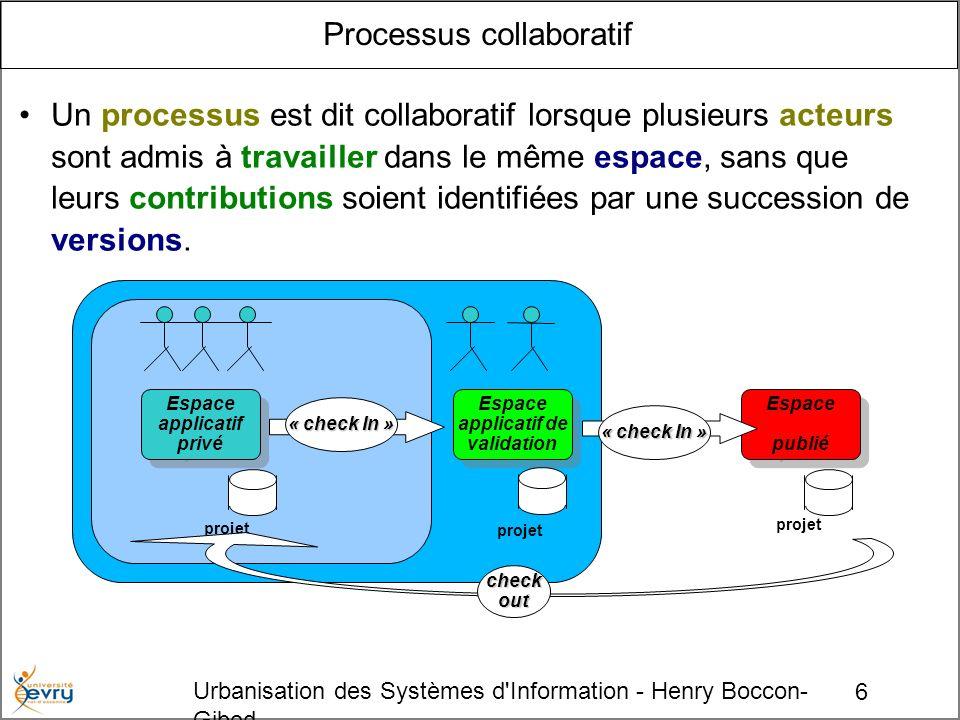 6 Urbanisation des Systèmes d Information - Henry Boccon- Gibod Processus collaboratif Un processus est dit collaboratif lorsque plusieurs acteurs sont admis à travailler dans le même espace, sans que leurs contributions soient identifiées par une succession de versions.