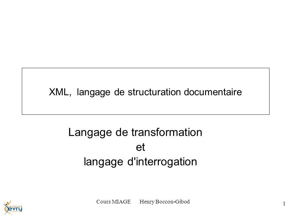Cours MIAGE Henry Boccon-Gibod 1 XML, langage de structuration documentaire Langage de transformation et langage d interrogation