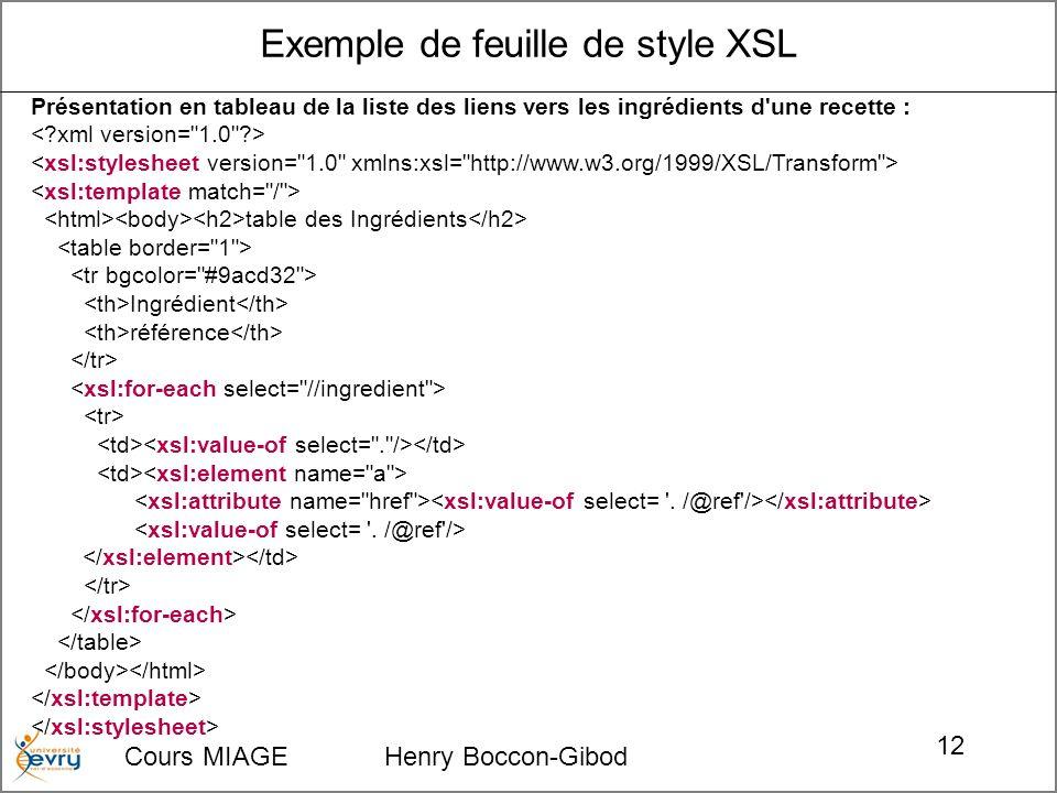 Cours MIAGE Henry Boccon-Gibod 12 Présentation en tableau de la liste des liens vers les ingrédients d une recette : table des Ingrédients Ingrédient référence Exemple de feuille de style XSL