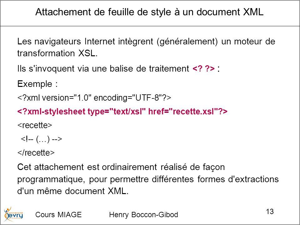 Cours MIAGE Henry Boccon-Gibod 13 Attachement de feuille de style à un document XML Les navigateurs Internet intègrent (généralement) un moteur de transformation XSL.