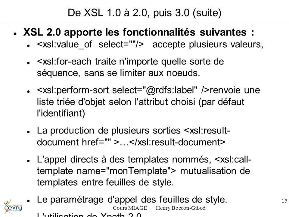 Cours MIAGE Henry Boccon-Gibod 15 De XSL 1.0 à 2.0, puis 3.0 (suite) XSL 2.0 apporte les fonctionnalités suivantes : accepte plusieurs valeurs, <xsl:f