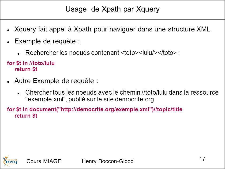Cours MIAGE Henry Boccon-Gibod 17 Usage de Xpath par Xquery Xquery fait appel à Xpath pour naviguer dans une structure XML Exemple de requète : Rechercher les noeuds contenant : for $t in //toto/lulu return $t Autre Exemple de requète : Chercher tous les noeuds avec le chemin //toto/lulu dans la ressource exemple.xml , publié sur le site democrite.org for $t in document( http://democrite.org/exemple.xml )//topic/title return $t
