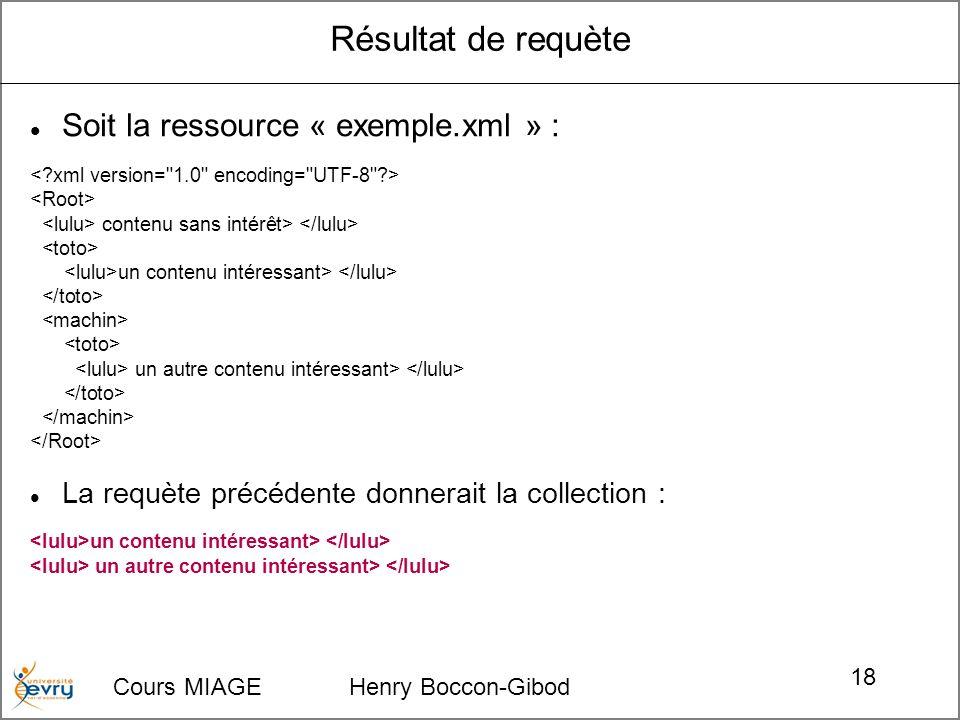 Cours MIAGE Henry Boccon-Gibod 18 Résultat de requète Soit la ressource « exemple.xml » : contenu sans intérêt> un contenu intéressant> un autre contenu intéressant> La requète précédente donnerait la collection : un contenu intéressant> un autre contenu intéressant>