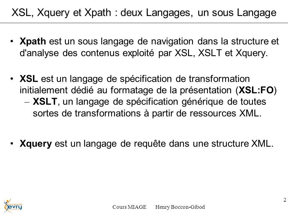 Cours MIAGE Henry Boccon-Gibod 2 XSL, Xquery et Xpath : deux Langages, un sous Langage Xpath est un sous langage de navigation dans la structure et d analyse des contenus exploité par XSL, XSLT et Xquery.