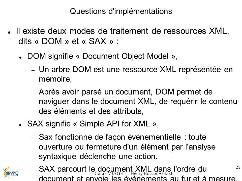 Cours MIAGE Henry Boccon-Gibod 22 Questions d implémentations Il existe deux modes de traitement de ressources XML, dits « DOM » et « SAX » : DOM signifie « Document Object Model », Un arbre DOM est une ressource XML représentée en mémoire, Après avoir parsé un document, DOM permet de naviguer dans le document XML, de requérir le contenu des éléments et des attributs, SAX signifie « Simple API for XML », Sax fonctionne de façon événementielle : toute ouverture ou fermeture d un élément par l analyse syntaxique déclenche une action.