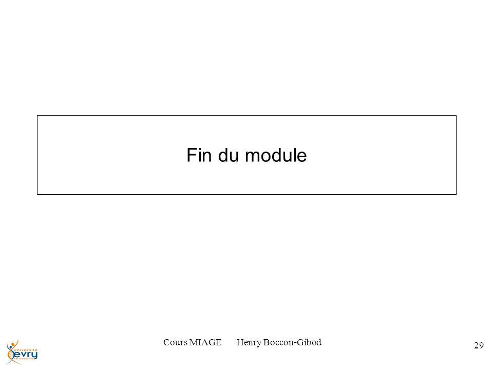 Cours MIAGE Henry Boccon-Gibod 29 Fin du module