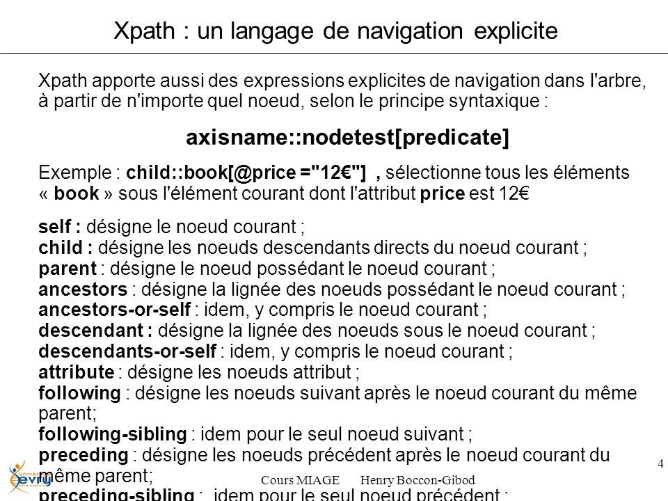 Cours MIAGE Henry Boccon-Gibod 4 Xpath : un langage de navigation explicite Xpath apporte aussi des expressions explicites de navigation dans l arbre, à partir de n importe quel noeud, selon le principe syntaxique : axisname::nodetest[predicate] Exemple : child::book[@price = 12 ], sélectionne tous les éléments « book » sous l élément courant dont l attribut price est 12 self : désigne le noeud courant ; child : désigne les noeuds descendants directs du noeud courant ; parent : désigne le noeud possédant le noeud courant ; ancestors : désigne la lignée des noeuds possédant le noeud courant ; ancestors-or-self : idem, y compris le noeud courant ; descendant : désigne la lignée des noeuds sous le noeud courant ; descendants-or-self : idem, y compris le noeud courant ; attribute : désigne les noeuds attribut ; following : désigne les noeuds suivant après le noeud courant du même parent; following-sibling : idem pour le seul noeud suivant ; preceding : désigne les noeuds précédent après le noeud courant du même parent; preceding-sibling : idem pour le seul noeud précédent ; namespace : désigne les noeuds attribut ; text() : designe le texte d un contenu