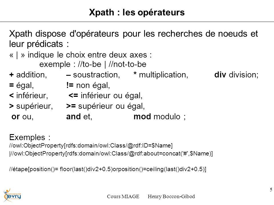 Cours MIAGE Henry Boccon-Gibod 5 Xpath : les opérateurs Xpath dispose d opérateurs pour les recherches de noeuds et leur prédicats : « | » indique le choix entre deux axes : exemple : //to-be | //not-to-be + addition, – soustraction, * multiplication, div division; = égal, != non égal, < inférieur, <= inférieur ou égal, > supérieur, >= supérieur ou égal, or ou, and et, mod modulo ; Exemples : //owl:ObjectProperty[rdfs:domain/owl:Class/@rdf:ID=$Name] |//owl:ObjectProperty[rdfs:domain/owl:Class/@rdf:about=concat( # ,$Name)] //étape[position()= floor(last()div2+0.5)orposition()=ceiling(last()div2+0.5)]