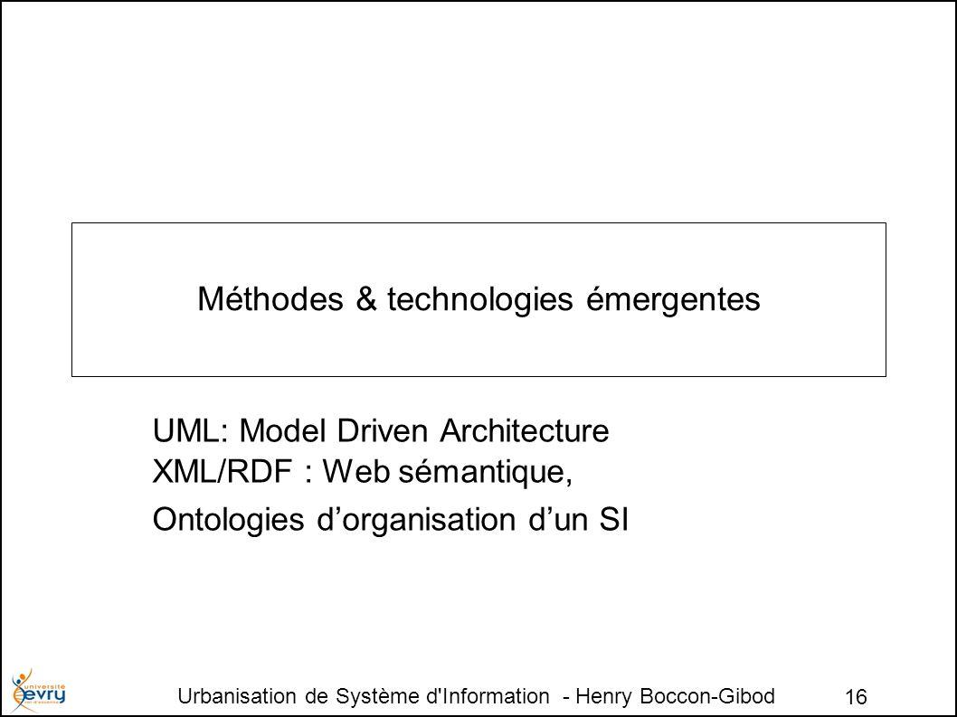 Urbanisation de Système d Information - Henry Boccon-Gibod 16 Méthodes & technologies émergentes UML: Model Driven Architecture XML/RDF : Web sémantique, Ontologies dorganisation dun SI