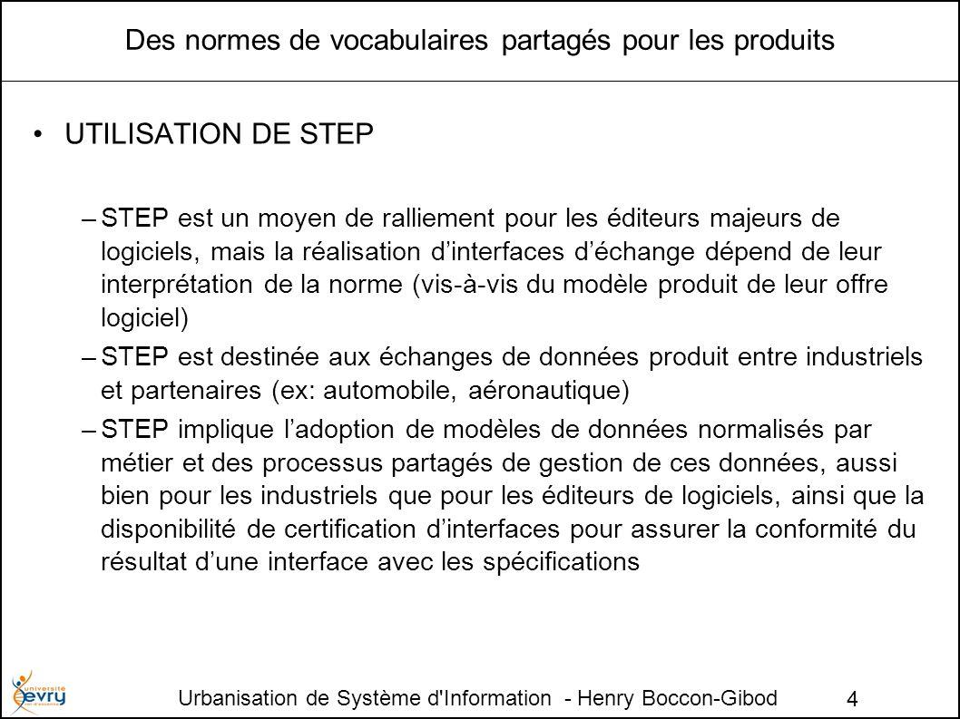 Urbanisation de Système d Information - Henry Boccon-Gibod 4 Des normes de vocabulaires partagés pour les produits UTILISATION DE STEP –STEP est un moyen de ralliement pour les éditeurs majeurs de logiciels, mais la réalisation dinterfaces déchange dépend de leur interprétation de la norme (vis-à-vis du modèle produit de leur offre logiciel) –STEP est destinée aux échanges de données produit entre industriels et partenaires (ex: automobile, aéronautique) –STEP implique ladoption de modèles de données normalisés par métier et des processus partagés de gestion de ces données, aussi bien pour les industriels que pour les éditeurs de logiciels, ainsi que la disponibilité de certification dinterfaces pour assurer la conformité du résultat dune interface avec les spécifications