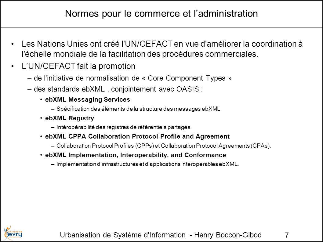 Urbanisation de Système d Information - Henry Boccon-Gibod 7 Normes pour le commerce et ladministration Les Nations Unies ont créé l UN/CEFACT en vue d améliorer la coordination à l échelle mondiale de la facilitation des procédures commerciales.