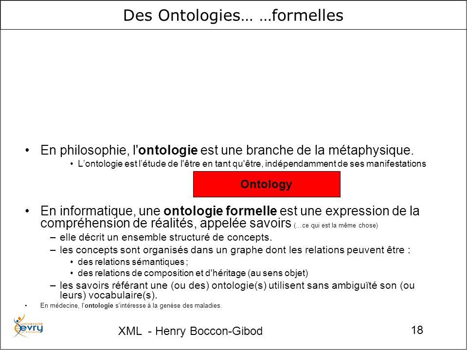 XML - Henry Boccon-Gibod 18 Des Ontologies… …formelles En philosophie, l'ontologie est une branche de la métaphysique. Lontologie est létude de l'être