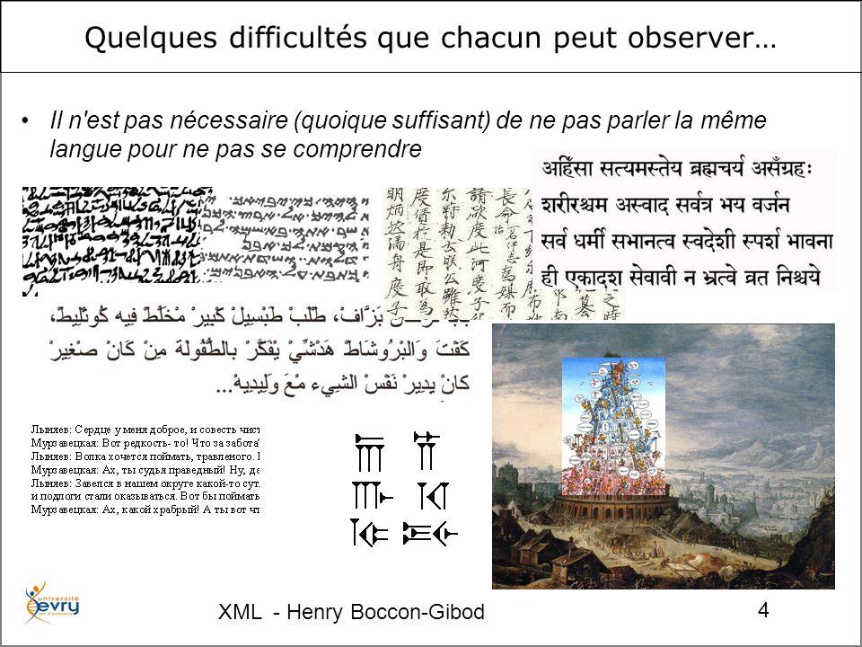 XML - Henry Boccon-Gibod 4 Quelques difficultés que chacun peut observer… Il n'est pas nécessaire (quoique suffisant) de ne pas parler la même langue
