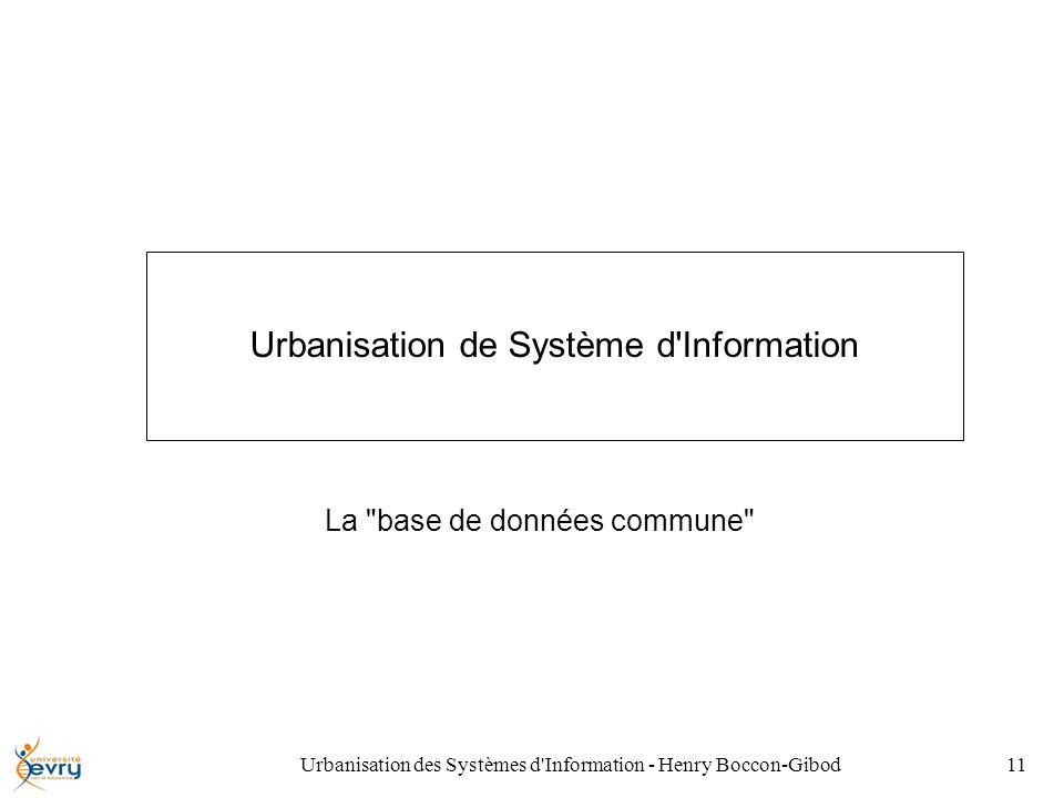 Urbanisation des Systèmes d Information - Henry Boccon-Gibod11 Urbanisation de Système d Information La base de données commune