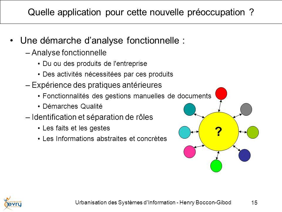 15 Urbanisation des Systèmes d Information - Henry Boccon-Gibod Quelle application pour cette nouvelle préoccupation .