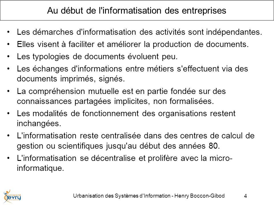 4 Urbanisation des Systèmes d Information - Henry Boccon-Gibod Au début de l informatisation des entreprises Les démarches d informatisation des activités sont indépendantes.
