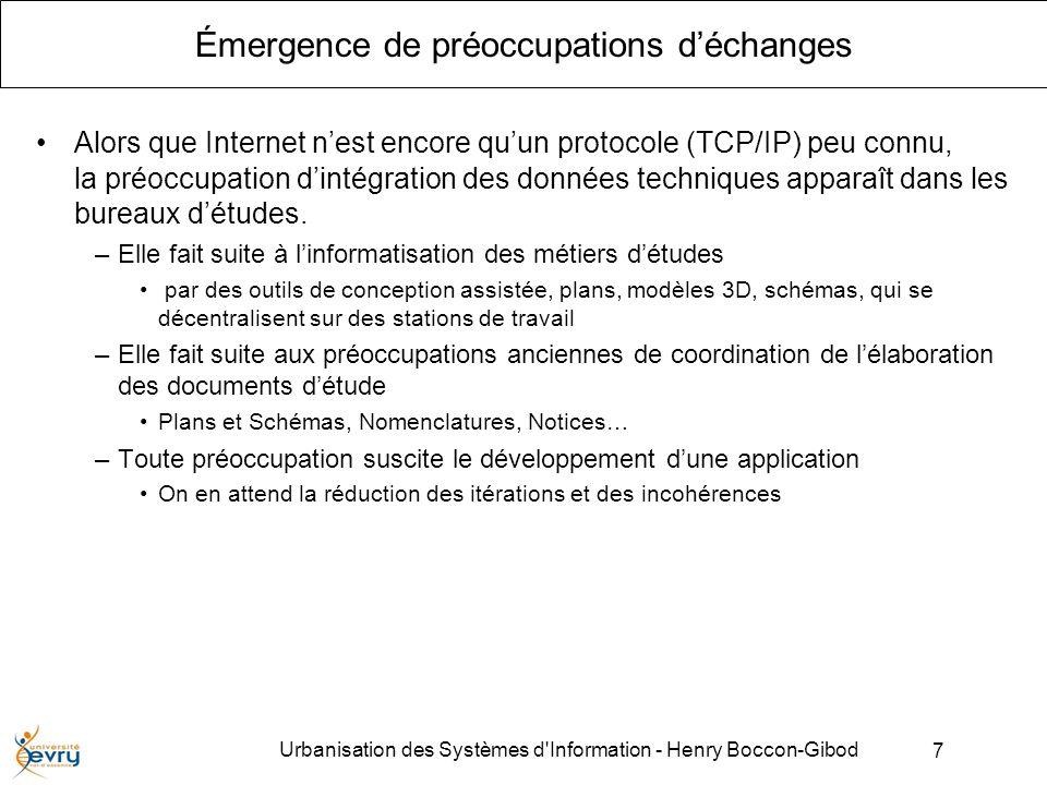 7 Urbanisation des Systèmes d Information - Henry Boccon-Gibod Émergence de préoccupations déchanges Alors que Internet nest encore quun protocole (TCP/IP) peu connu, la préoccupation dintégration des données techniques apparaît dans les bureaux détudes.