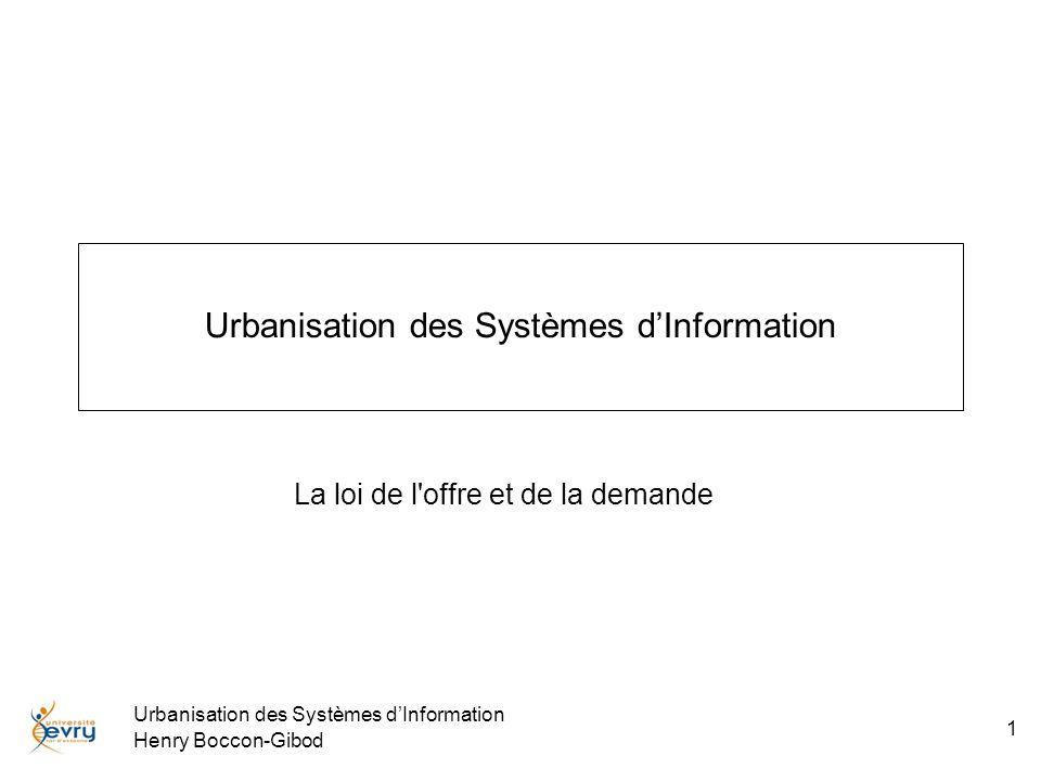 Urbanisation des Systèmes dInformation Henry Boccon-Gibod 2 Produits et Services Toute entreprise, toute organisation délivre soit des services, soit des produits manufacturés.