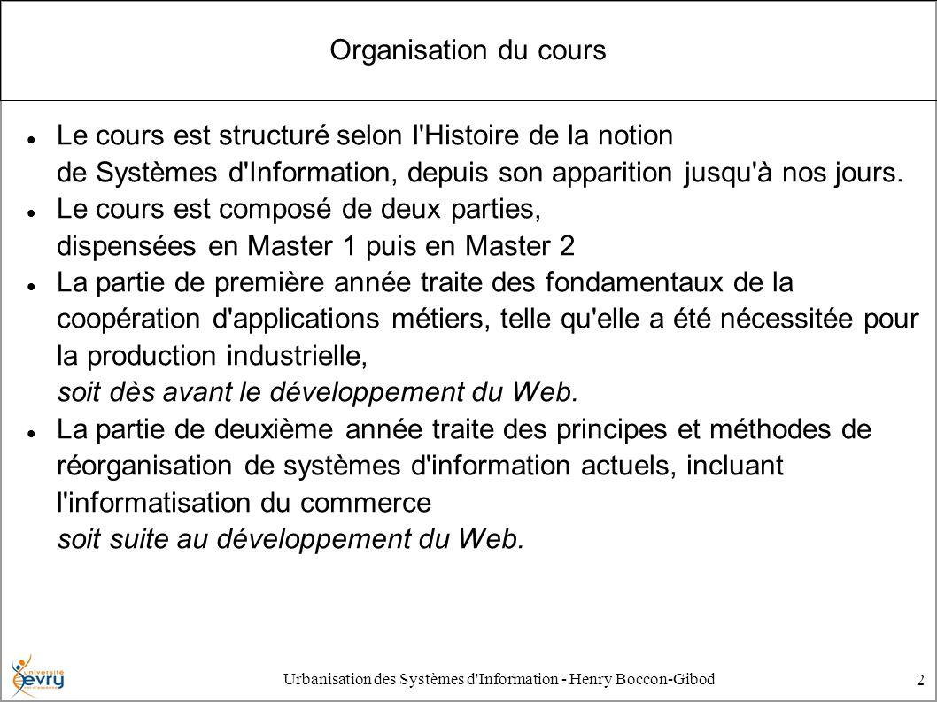 Urbanisation des Systèmes d'Information - Henry Boccon-Gibod 2 Organisation du cours Le cours est structuré selon l'Histoire de la notion de Systèmes