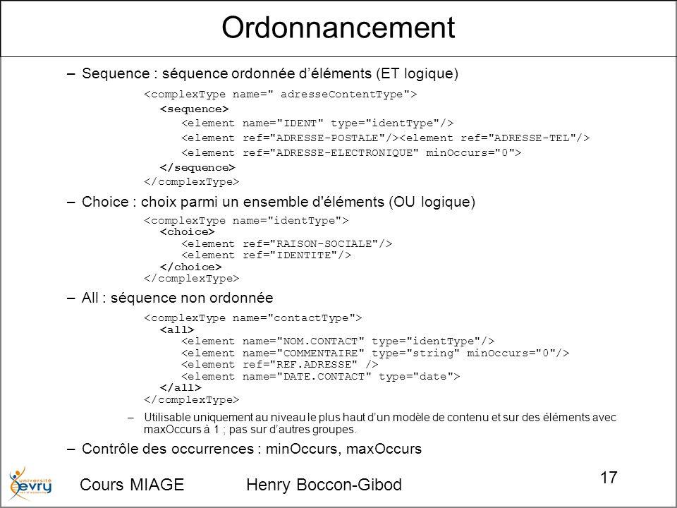 Cours MIAGE Henry Boccon-Gibod 17 –Sequence : séquence ordonnée déléments (ET logique) –Choice : choix parmi un ensemble d'éléments (OU logique) –All