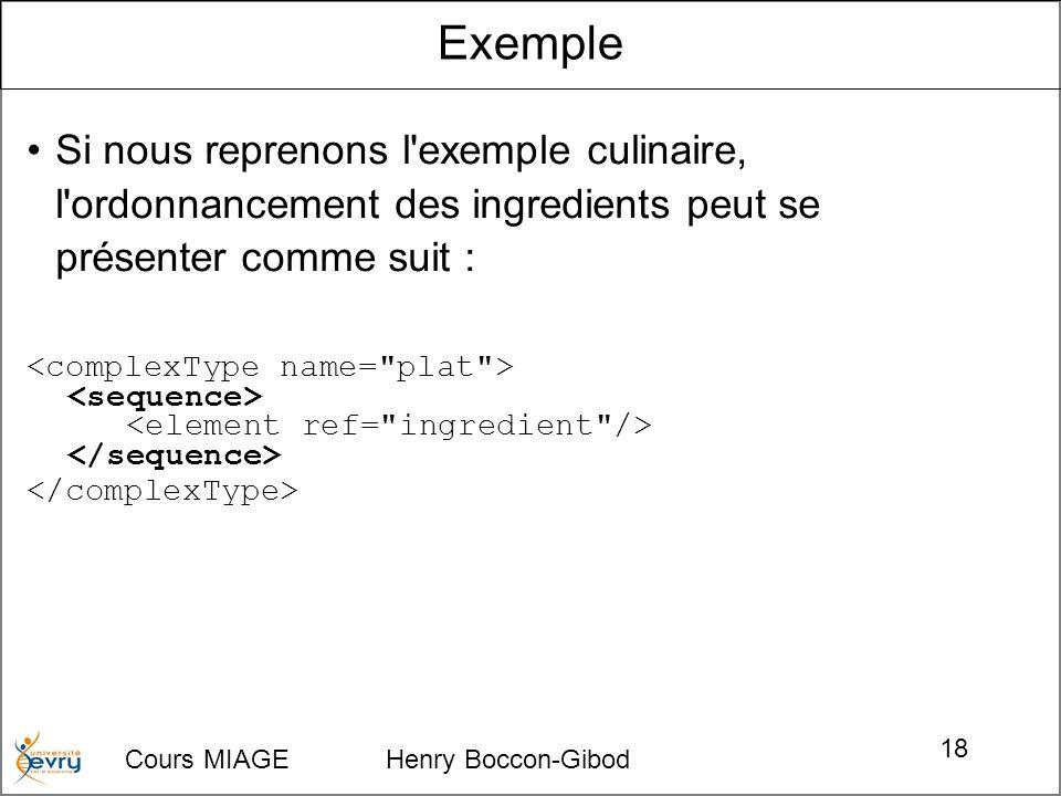 Cours MIAGE Henry Boccon-Gibod 18 Si nous reprenons l'exemple culinaire, l'ordonnancement des ingredients peut se présenter comme suit : Exemple