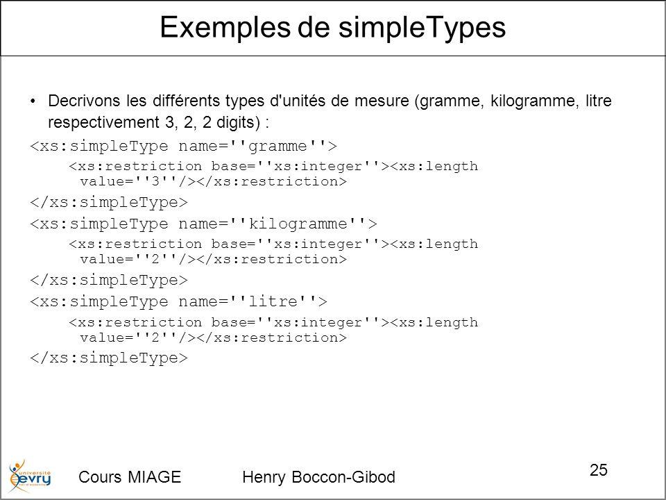 Cours MIAGE Henry Boccon-Gibod 25 Decrivons les différents types d'unités de mesure (gramme, kilogramme, litre respectivement 3, 2, 2 digits) : Exempl
