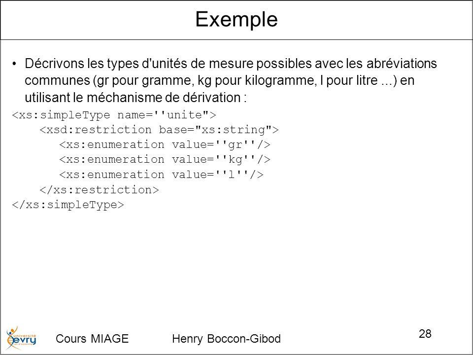 Cours MIAGE Henry Boccon-Gibod 28 Décrivons les types d unités de mesure possibles avec les abréviations communes (gr pour gramme, kg pour kilogramme, l pour litre...) en utilisant le méchanisme de dérivation : Exemple