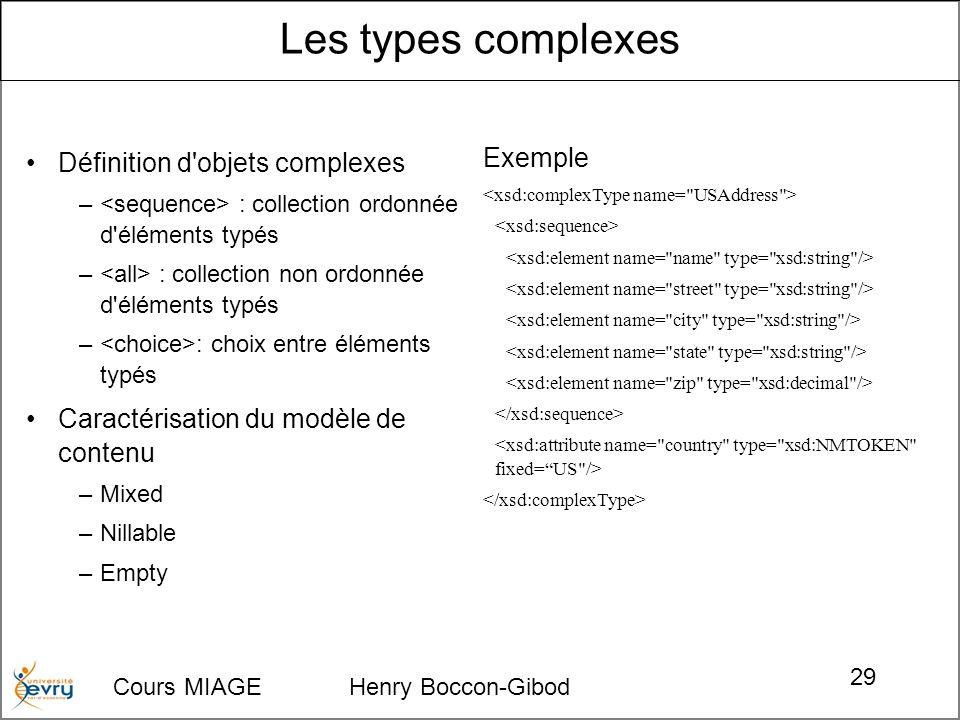 Cours MIAGE Henry Boccon-Gibod 29 Définition d'objets complexes – : collection ordonnée d'éléments typés – : collection non ordonnée d'éléments typés