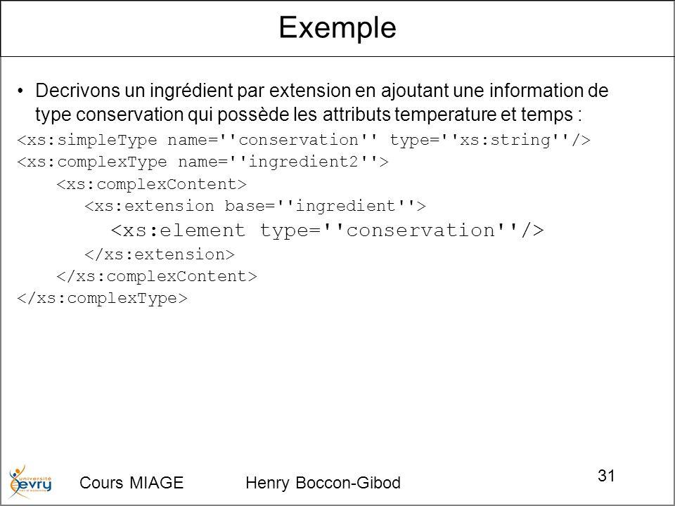 Cours MIAGE Henry Boccon-Gibod 31 Decrivons un ingrédient par extension en ajoutant une information de type conservation qui possède les attributs temperature et temps : Exemple