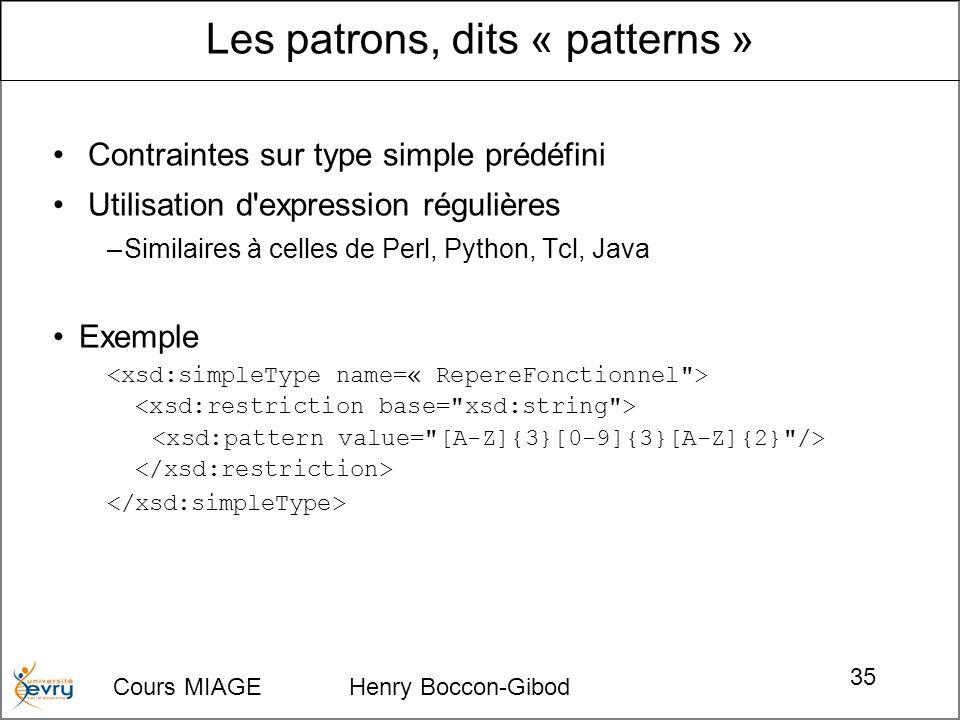 Cours MIAGE Henry Boccon-Gibod 35 Contraintes sur type simple prédéfini Utilisation d expression régulières –Similaires à celles de Perl, Python, Tcl, Java Exemple Les patrons, dits « patterns »