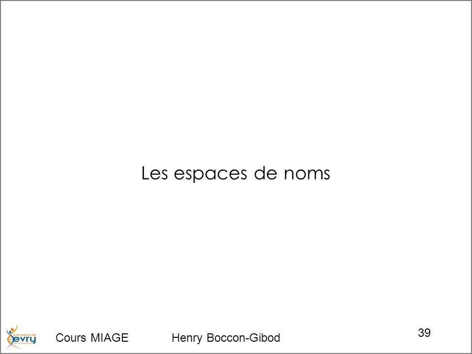 Cours MIAGE Henry Boccon-Gibod 39 Les espaces de noms
