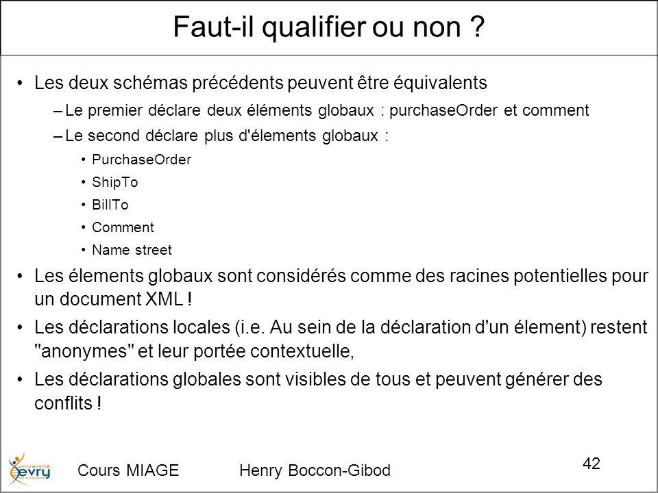 Cours MIAGE Henry Boccon-Gibod 42 Les deux schémas précédents peuvent être équivalents –Le premier déclare deux éléments globaux : purchaseOrder et co